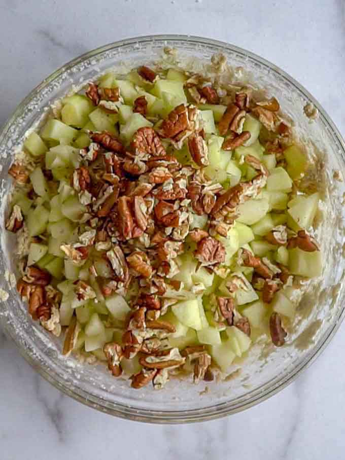 Apples and pecans added to batter