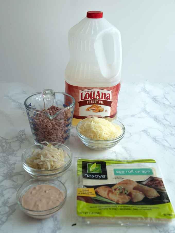 Ingredients for Reuben Egg Rolls