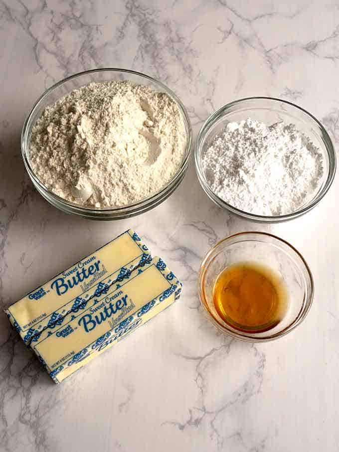 Shortbread ingredients for Ultimate Tagalongs