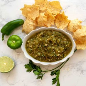 Delicious Salsa Verde with tortilla chips