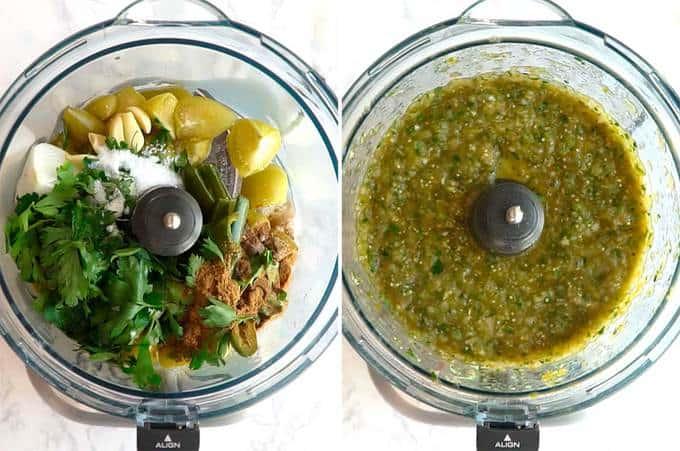 Processing ingredients for Salsa Verde in Food Processor