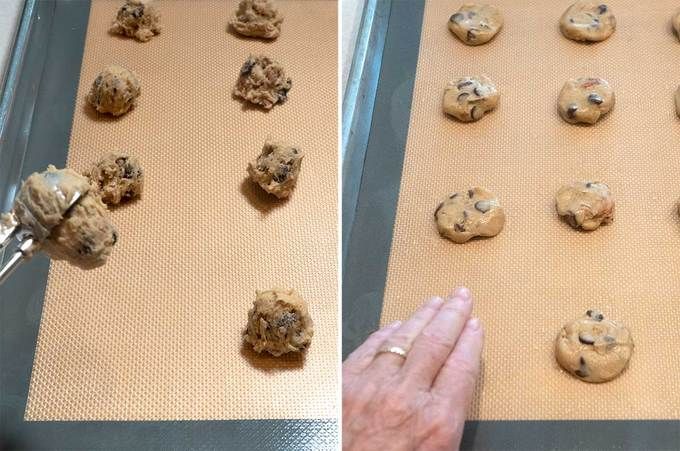 Dropping and pressing the cookie dough for Tate's Bake Shop Chocolate Chip Cookies