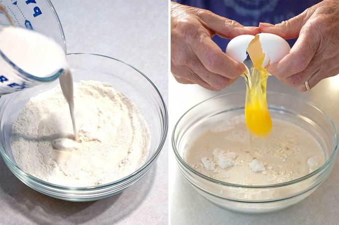 Adding Milk/yeast and Egg to flour mixture