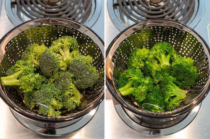 steaming broccoli