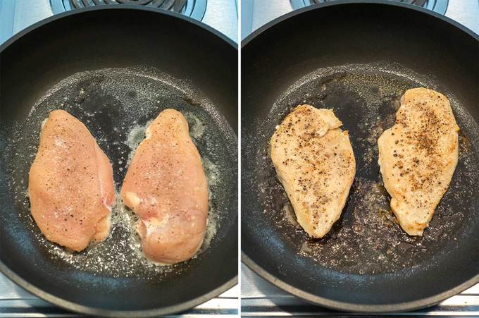 Cooking the Chicken in Skillet with Melted Butter