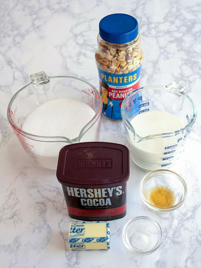 Ingredients for Old-Fashioned Chocolate Fudge with Peanuts