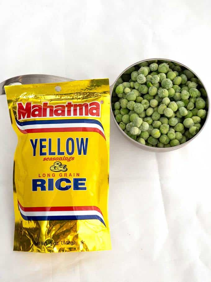 Ingredients for Yellow Rice with Peas