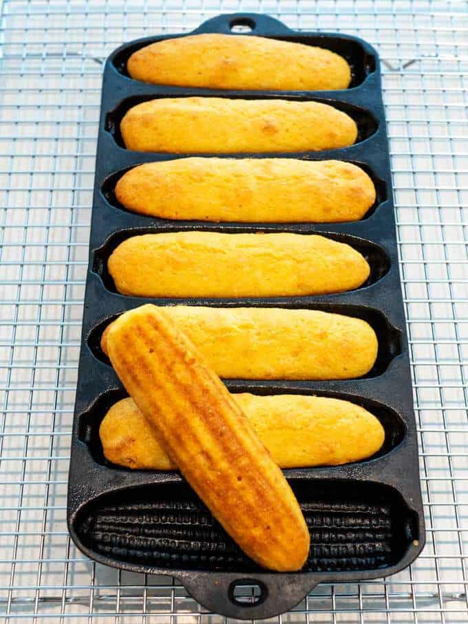 Southern Cornbread Sticks out of the oven