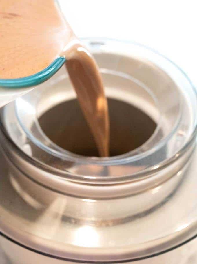 Pouring Nutella Gelato Mixture into Ice Cream Maker