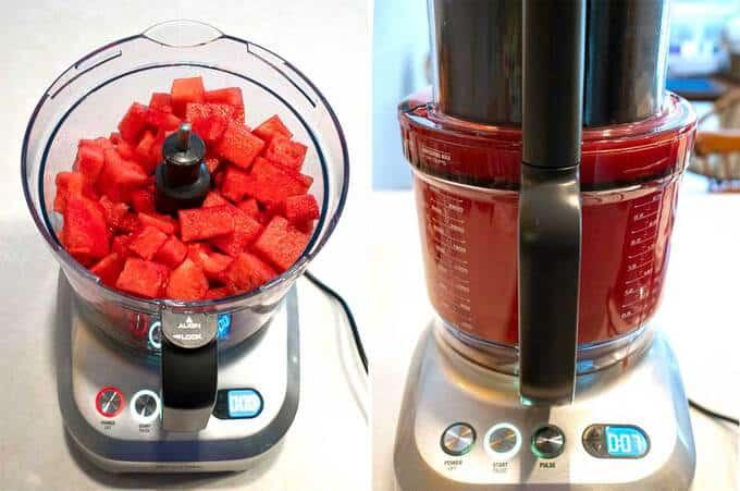 Processing watermelon in food processor