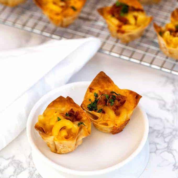 Wonton Mac and Cheese Bites