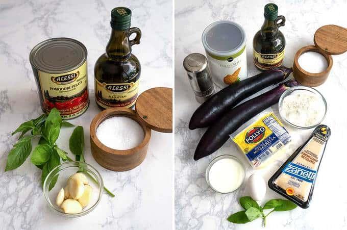 Ingredients for Eggplant Parmesan