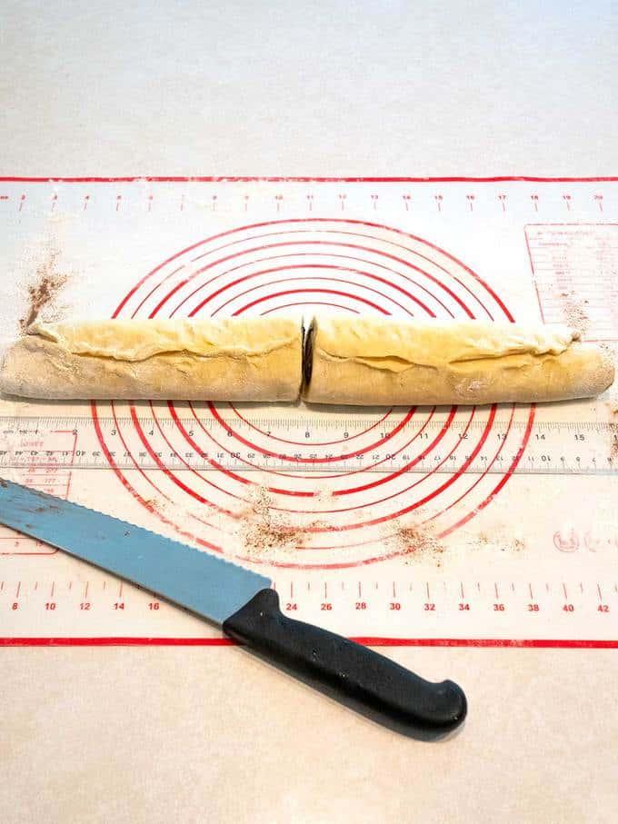 Cutting Cinnamon Rolls with Serrated Knife