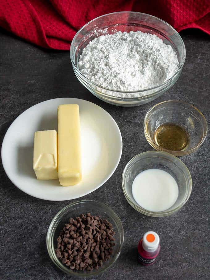 Ingredients for buttercream frosting