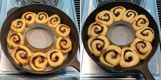 Cinnamon Rolls Before and After the Rise