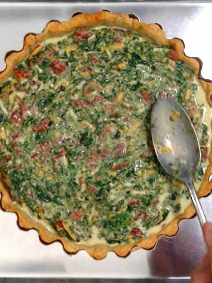 Smoothing Quiche Filling in Crust