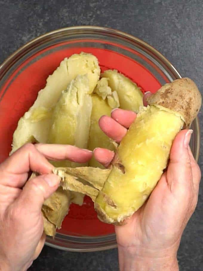 Removing the Skins from Baked Potatoes
