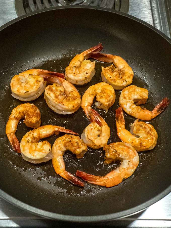 Cooking the Shrimp in Olive Oil