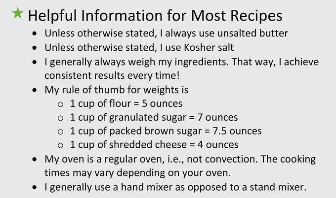 Helpful information for all recipes