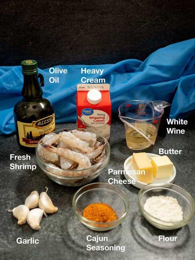 Ingredients for Creamy Cajun Shrimp