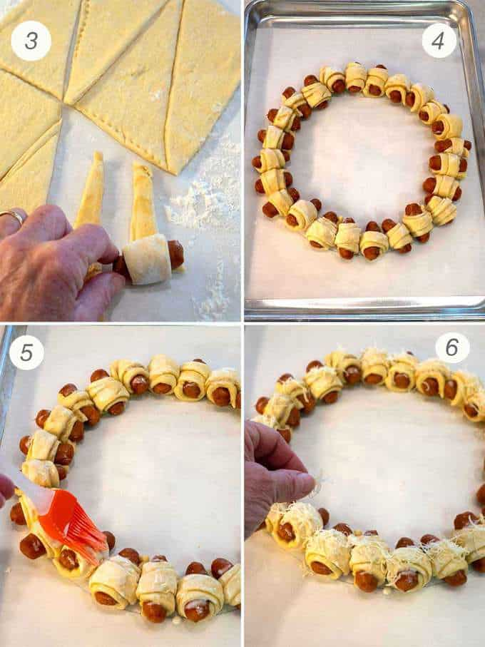 Making the Pigs in an Blanket Wreath