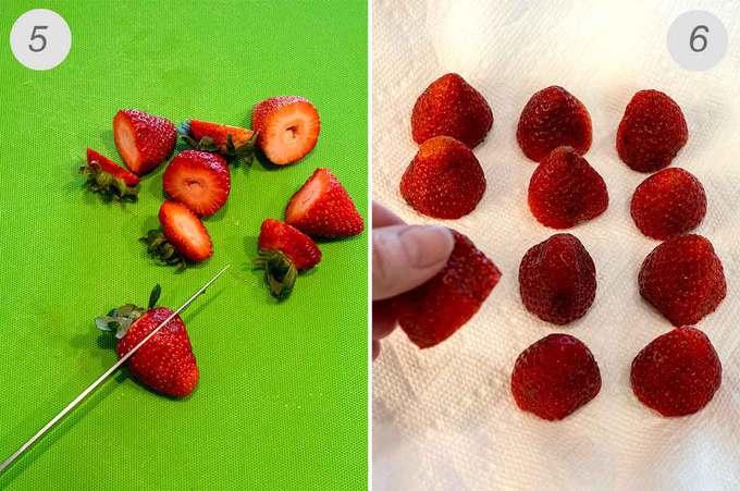 Preparing the Strawberries for the Santa hats