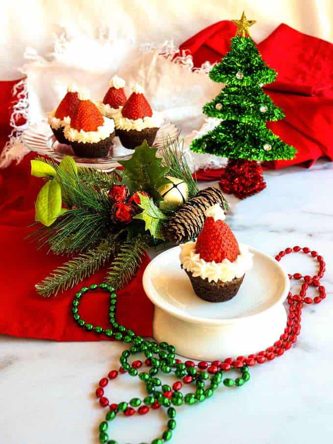 Santa hats made with brownie mini muffins and strawberries