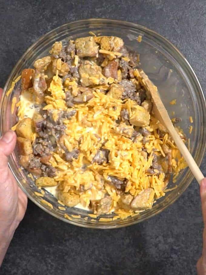Stirring Breakfast Casserole Mixture