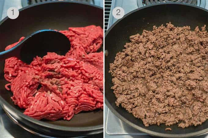 Cooking the ground beef over medium heat