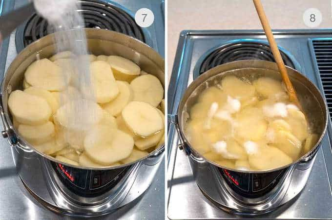 Cooking the potatoes in salted water