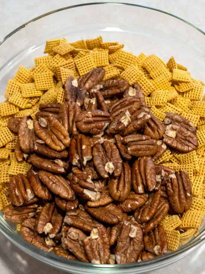 Corn Chex and Pecans in a Bowl
