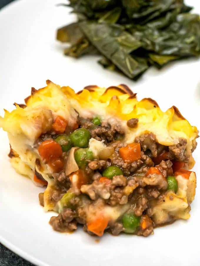 Cottage Pie served with steamed collard greens