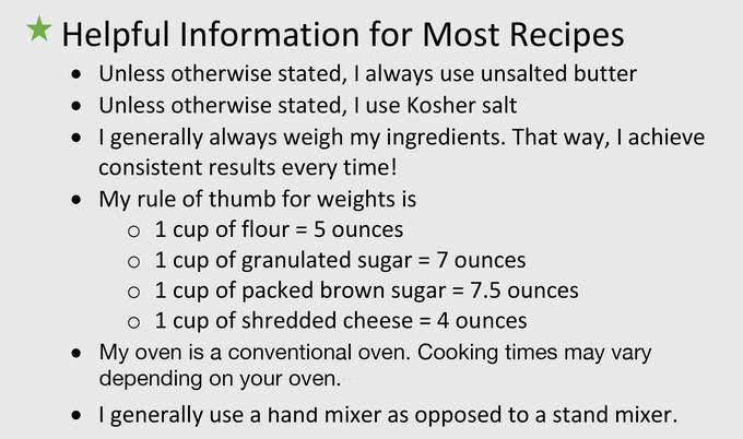 Helpful information for most recipes