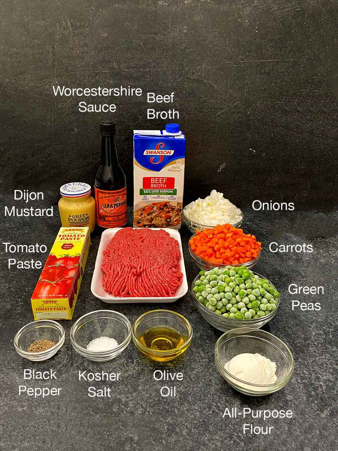 Ingredients for Meat Mixture for Cottage Pie