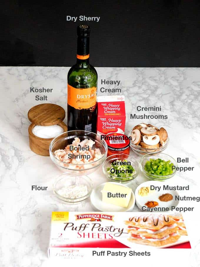 Ingredients for Shrimp Newburg in Puff Pastry Shells