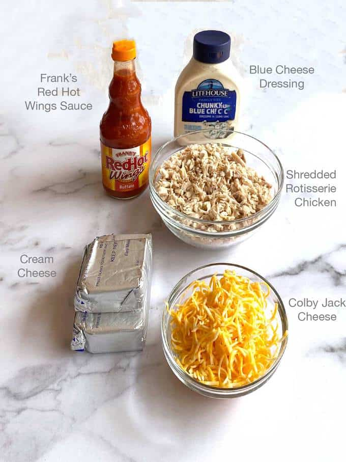 Ingredients for Cheesy Buffalo Chicken Dip