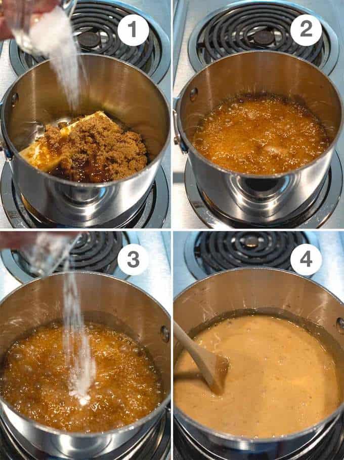 Making the Caramel for the Mardi Gras Praline Crunch