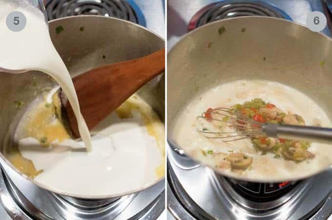 Making the cream sauce for the shrimp newburg