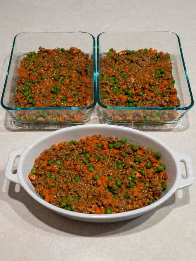 Meat mixture in oven safe dishes