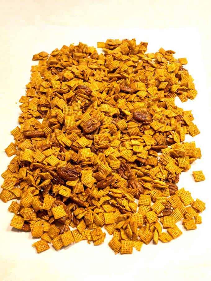 Mardi Gras Pecan Crunch on Parchment Paper