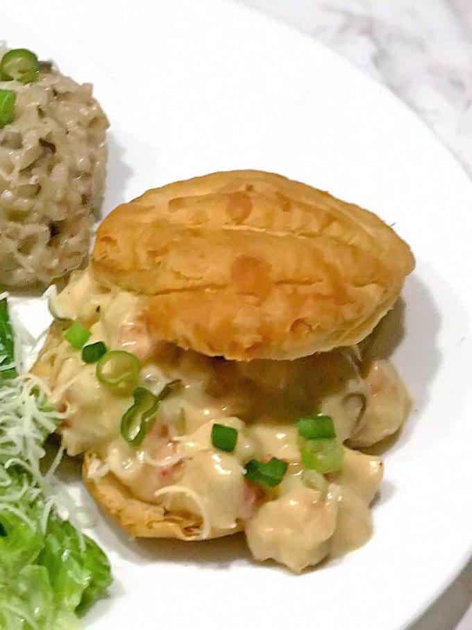 Elegant shrimp newburg in puff pastry shell