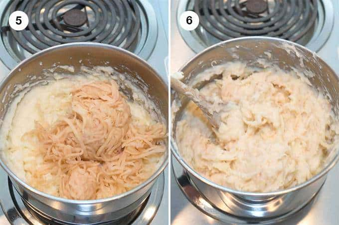 Combining the grated potatoes with the mashed potatoes