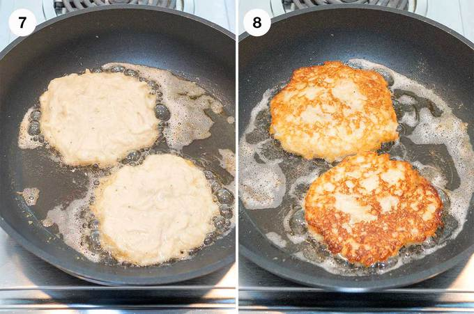 Cooking the Boxty in vegetable oil
