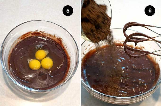 Finishing the chocolate batter for the flourless cake