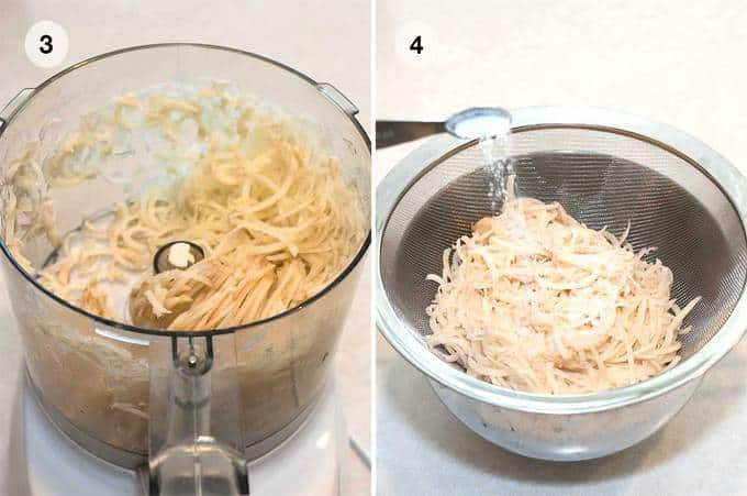 Grating the potatoes in food processor and adding salt to draw out liquid