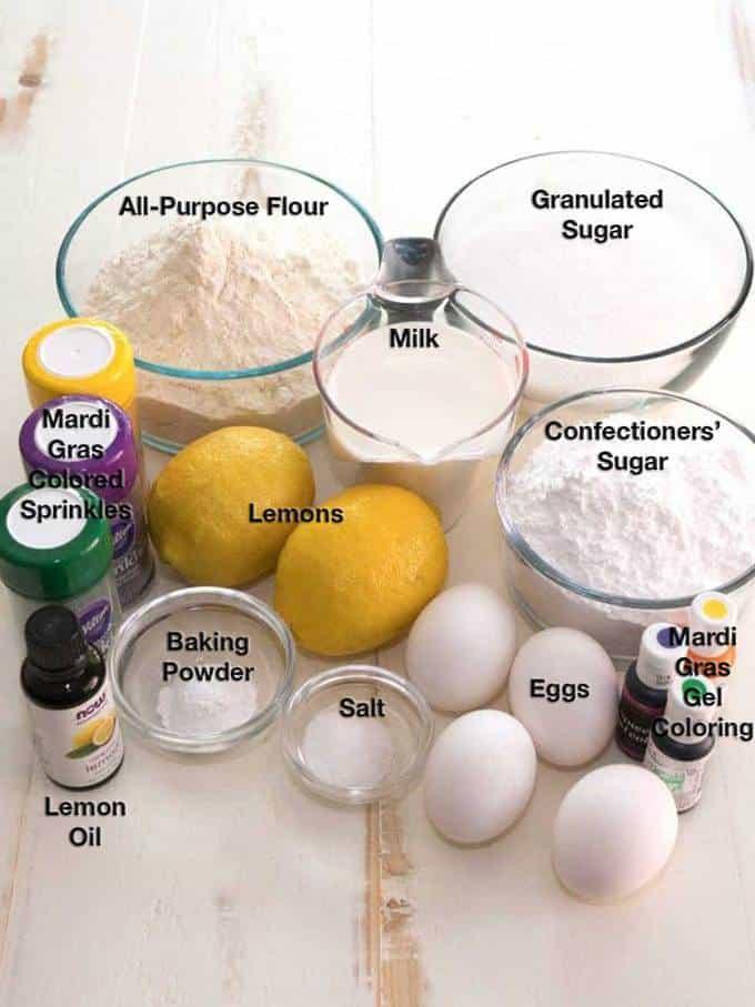 Ingredients for the Mardi Gras Lemon Bliss Bundt Cake