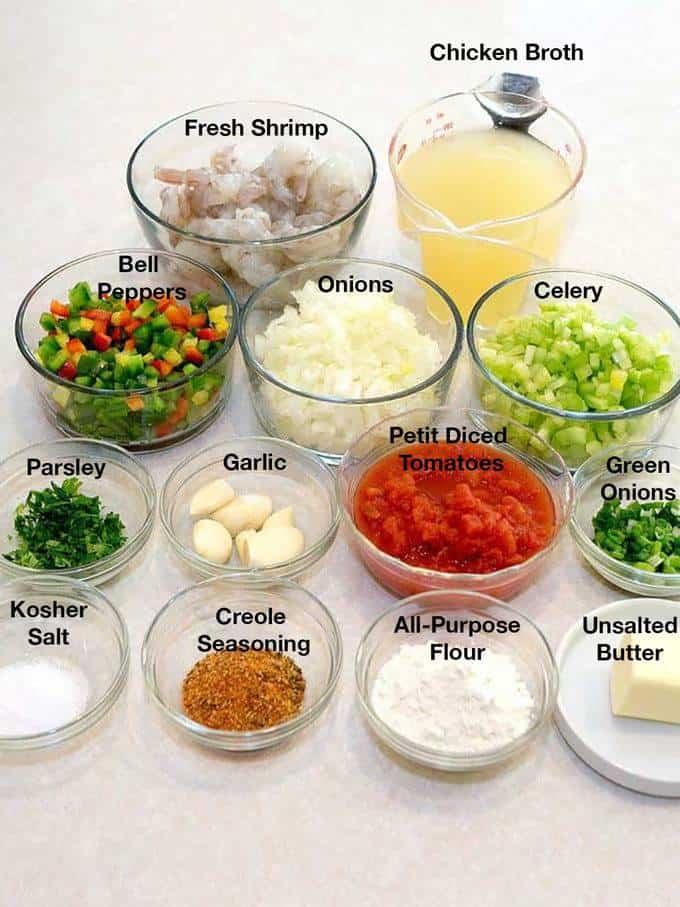 Ingredients for Shrimp Étouffée