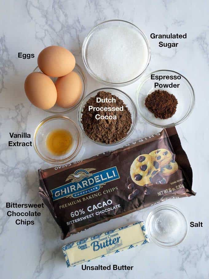 Ingredients for Flourless Chocolate Cake