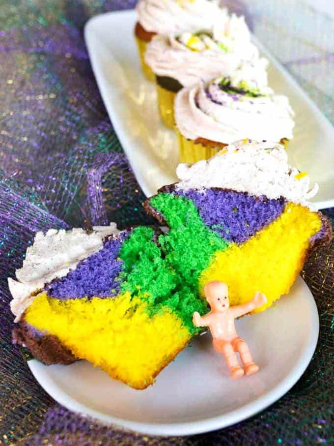 Cut Mardi Gras Cupcake showing the different colors on the inside.