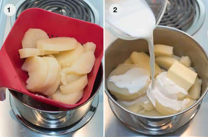 Draining and Adding Half&Half to the Potatoes